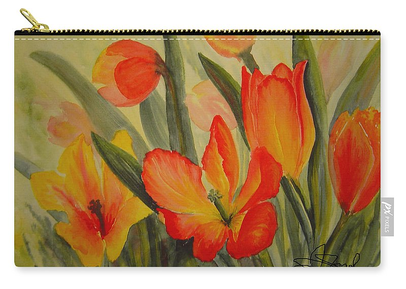 Spring Tulips Carry-all Pouch featuring the painting Tulips by Joanne Smoley