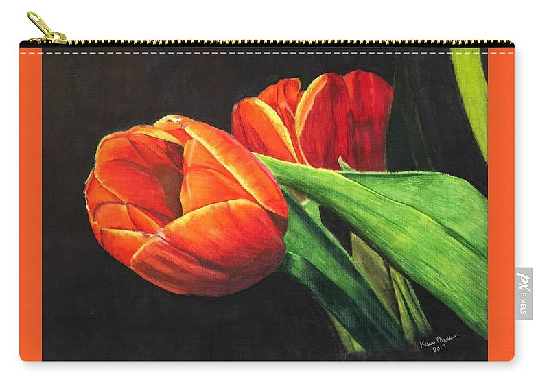 Tulips Carry-all Pouch featuring the painting Tulips by Kara Overbee