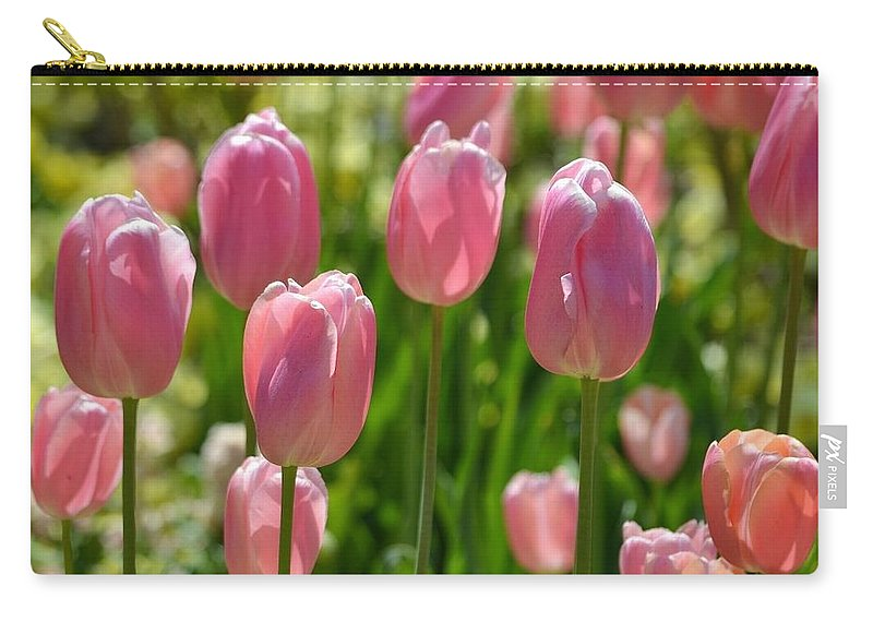 Flowers Carry-all Pouch featuring the digital art Tulips by Laurie Glowacki