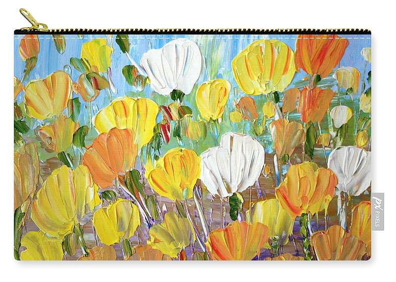 Flowers Carry-all Pouch featuring the painting Tulips by Luiza Vizoli