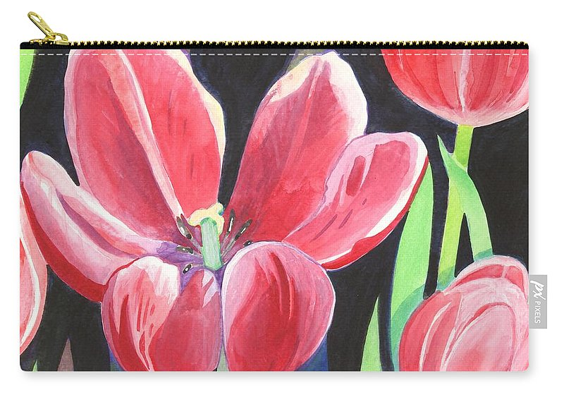 Flower Carry-all Pouch featuring the painting Tulips On Black by Helena Tiainen