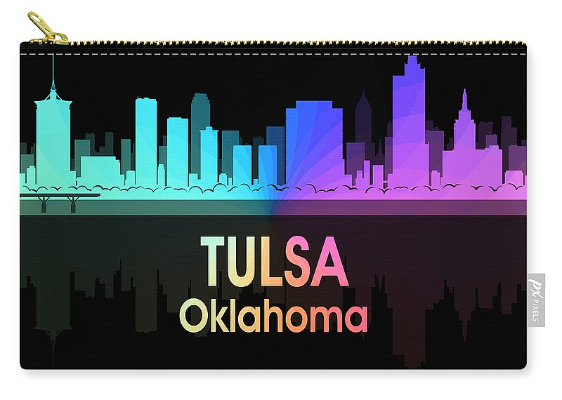 Tulsa Carry-all Pouch featuring the digital art Tulsa Ok 5 Squared by Angelina Tamez