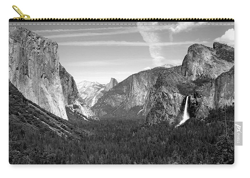 Black-and-white Carry-all Pouch featuring the photograph Tunnel View Yosemite B And W by Joyce Dickens
