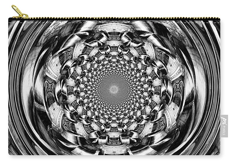 Swirl Carry-all Pouch featuring the digital art Tunnel Vision-black And White by Charleen Treasures