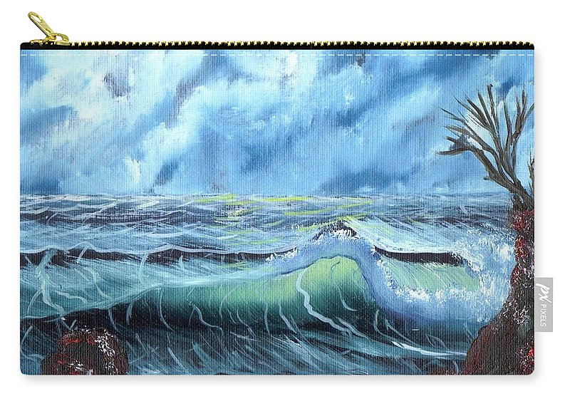 Ocean Carry-all Pouch featuring the painting Turbulent Sea by Jim Saltis