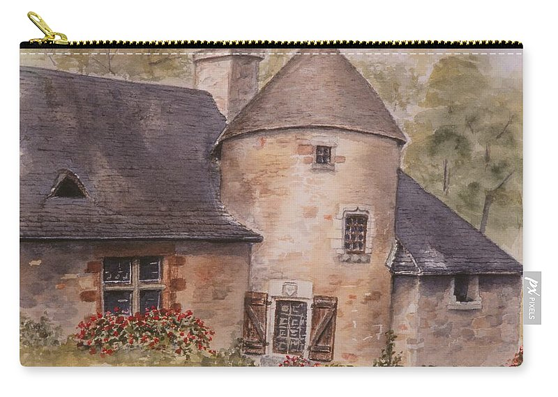 Watercolor Carry-all Pouch featuring the painting Turenne by Mary Ellen Mueller Legault