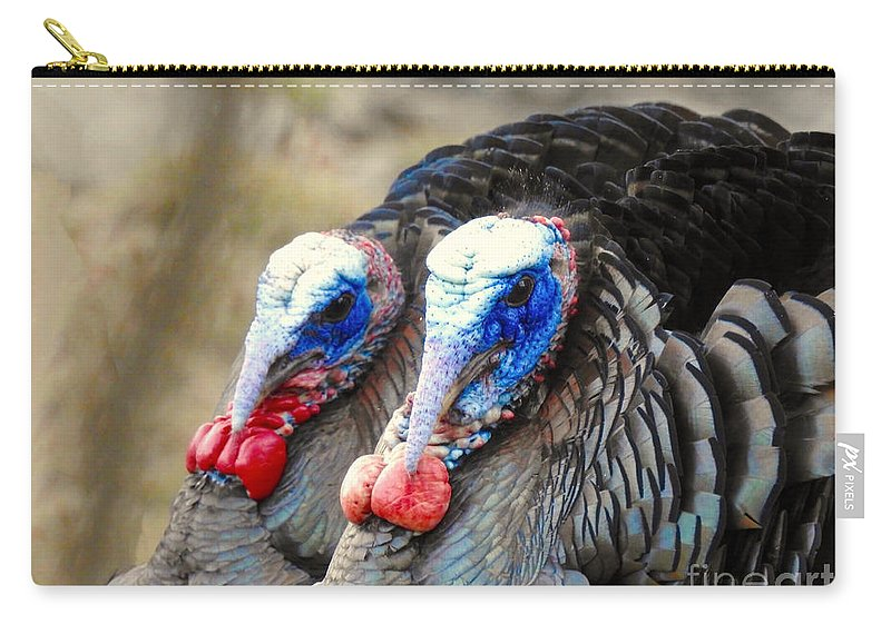 Turkeys Carry-all Pouch featuring the photograph Turkey Prowl Closeup by Beth Myer