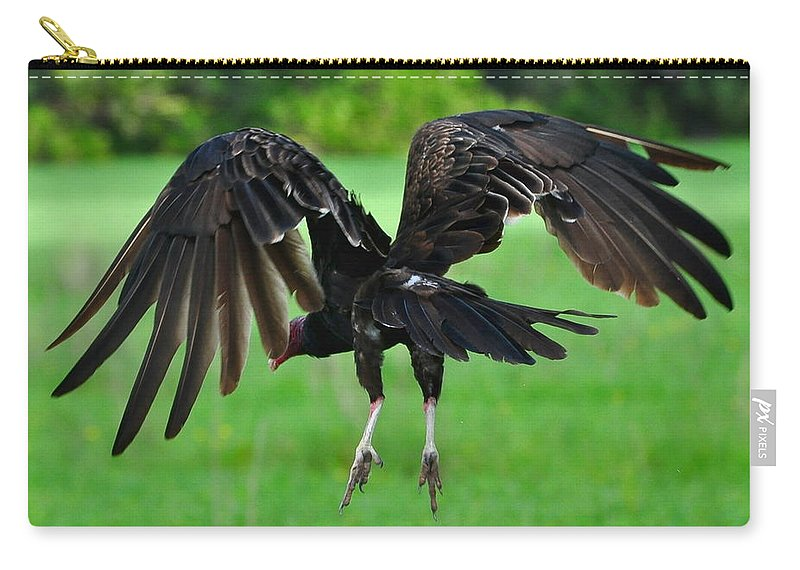 Turkey Vulture Carry-all Pouch featuring the photograph Turkey Vulture In Flight by Amy Spear
