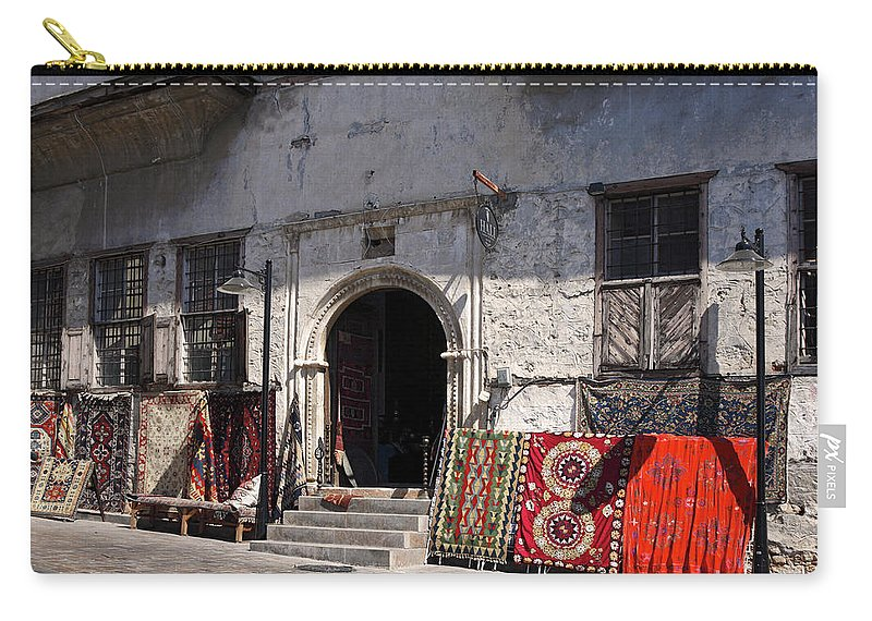 Turkish Carpet Shop Carry-all Pouch featuring the photograph Turkish Carpet Shop by Sally Weigand
