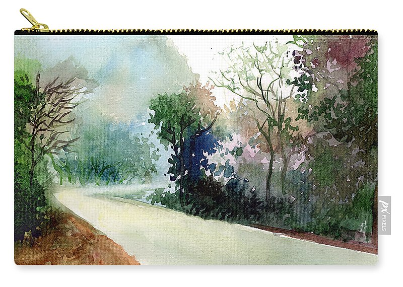 Landscape Water Color Nature Greenery Light Pathway Carry-all Pouch featuring the painting Turn Right by Anil Nene