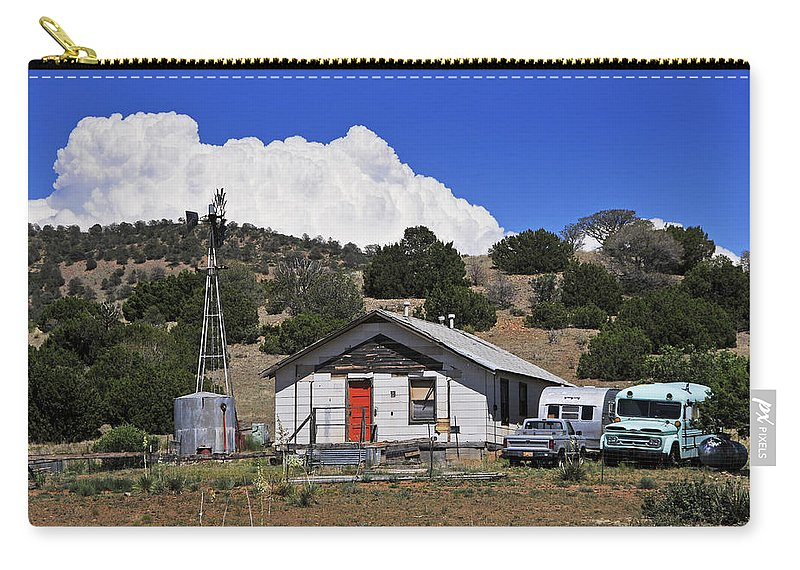 Skip Hunt Carry-all Pouch featuring the photograph Turquoise Bus by Skip Hunt
