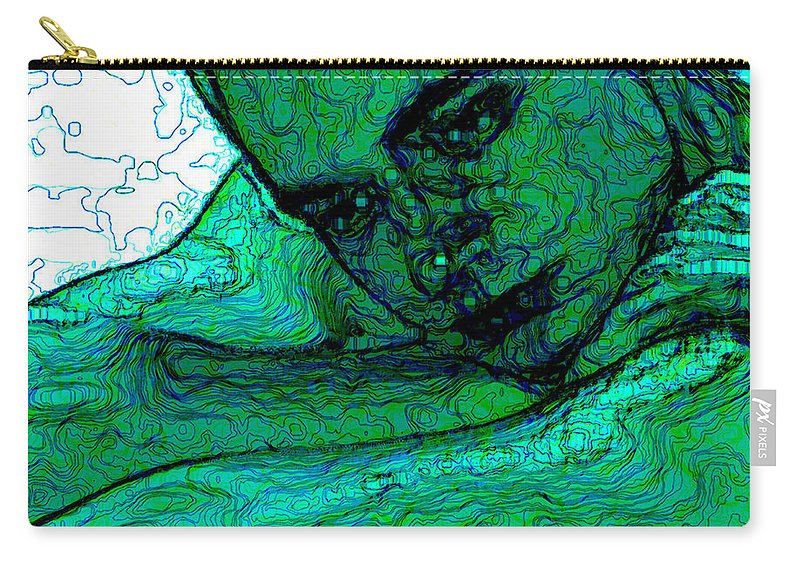 Abstract Carry-all Pouch featuring the digital art Turquoise Man by Stephen Lucas