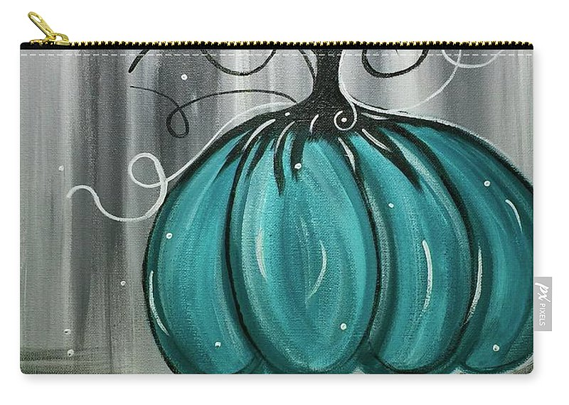 Blue Carry-all Pouch featuring the painting Turquoise Teal Surreal Pumpkin by Margaret Deadmon
