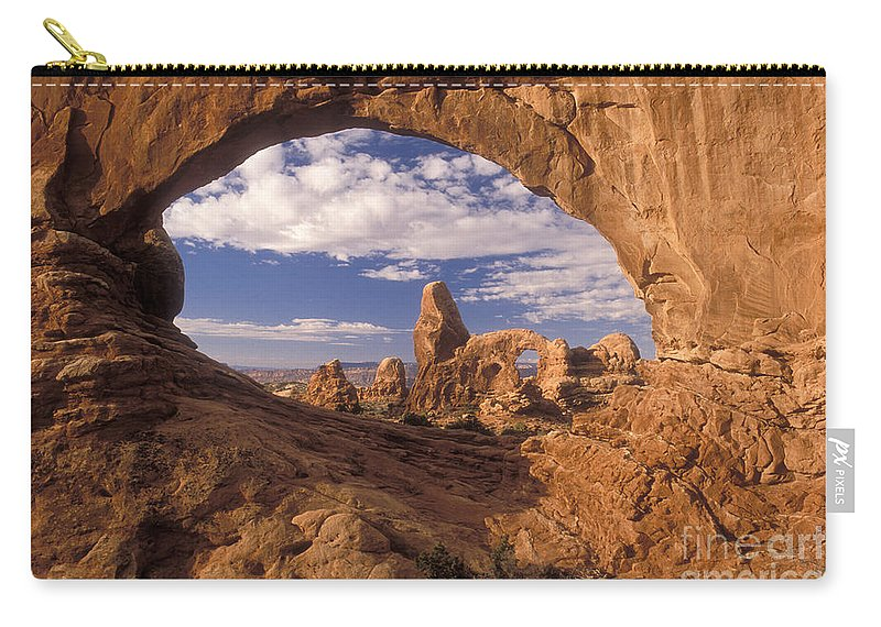 Turret Arch Carry-all Pouch featuring the photograph Turret Arch And North Window by Sandra Bronstein