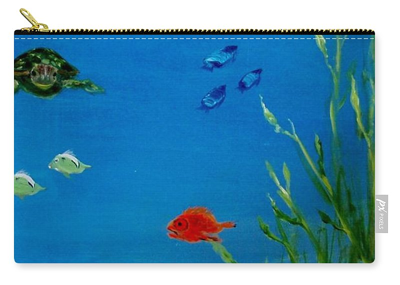 Water Carry-all Pouch featuring the painting Turtle And Friends by Jamie Frier