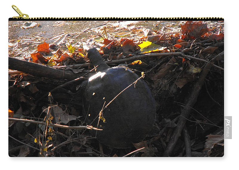 Turtle Carry-all Pouch featuring the photograph Turtle At Deer Creek by Ginger Repke