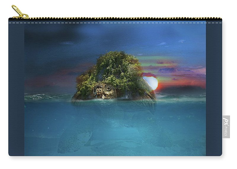 Turtle Carry-all Pouch featuring the digital art Turtle Island by Joseph Jones