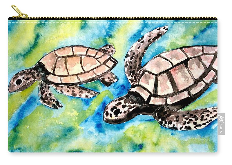 Love Carry-all Pouch featuring the painting Turtle Love Pair Of Sea Turtles by Derek Mccrea