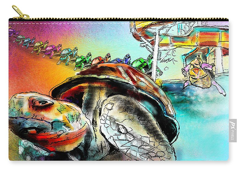 Turtle Carry-all Pouch featuring the painting Turtle Slide by Miki De Goodaboom