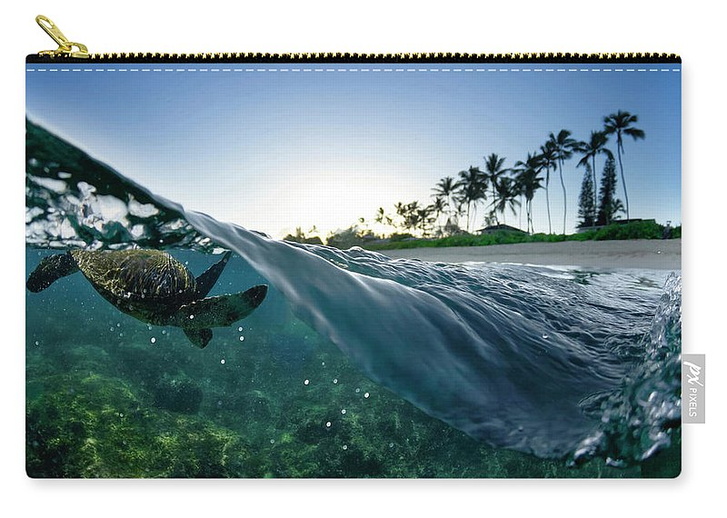 Split Level Carry-all Pouch featuring the photograph Turtle Split by Sean Davey