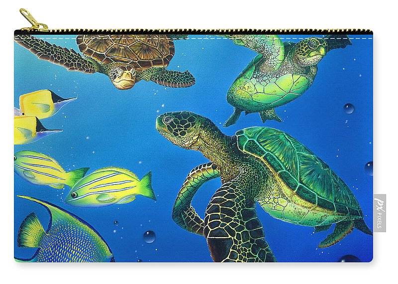 Turtle Carry-all Pouch featuring the painting Turtle Towne by Angie Hamlin