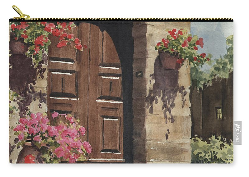 Flowers Carry-all Pouch featuring the painting Tuscan Door by Sam Sidders