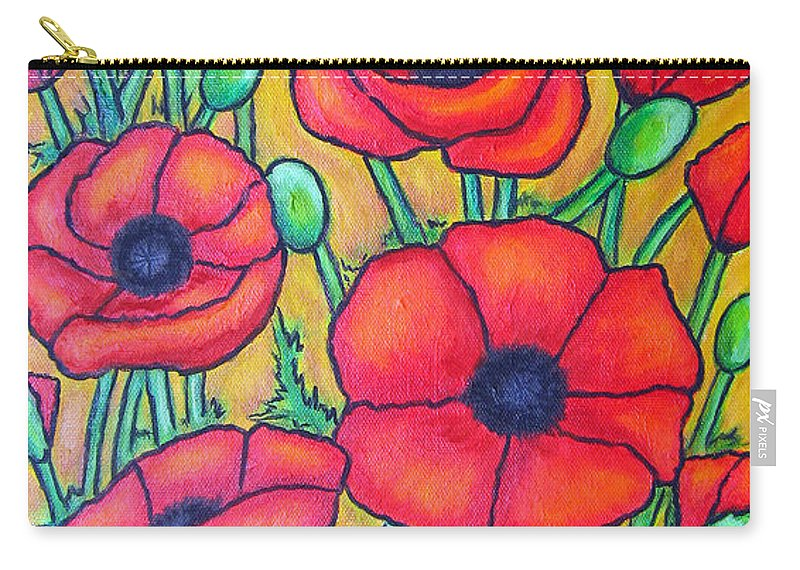 Poppies Carry-all Pouch featuring the painting Tuscan Poppies - Crop 1 by Lisa Lorenz