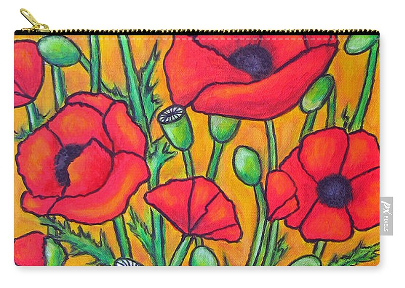 Poppies Carry-all Pouch featuring the painting Tuscan Poppies - Crop 2 by Lisa Lorenz