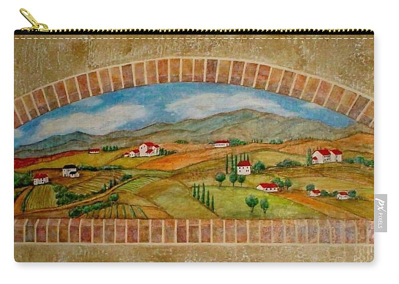 Mural Carry-all Pouch featuring the painting Tuscan Scene Brick Window by Anita Burgermeister