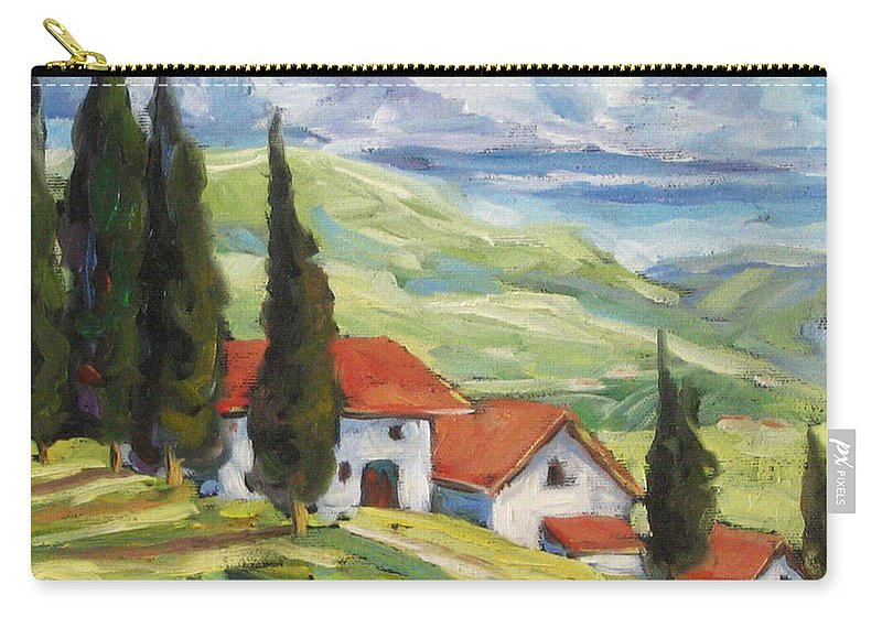 Tuscan Carry-all Pouch featuring the painting Tuscan Villas by Richard T Pranke