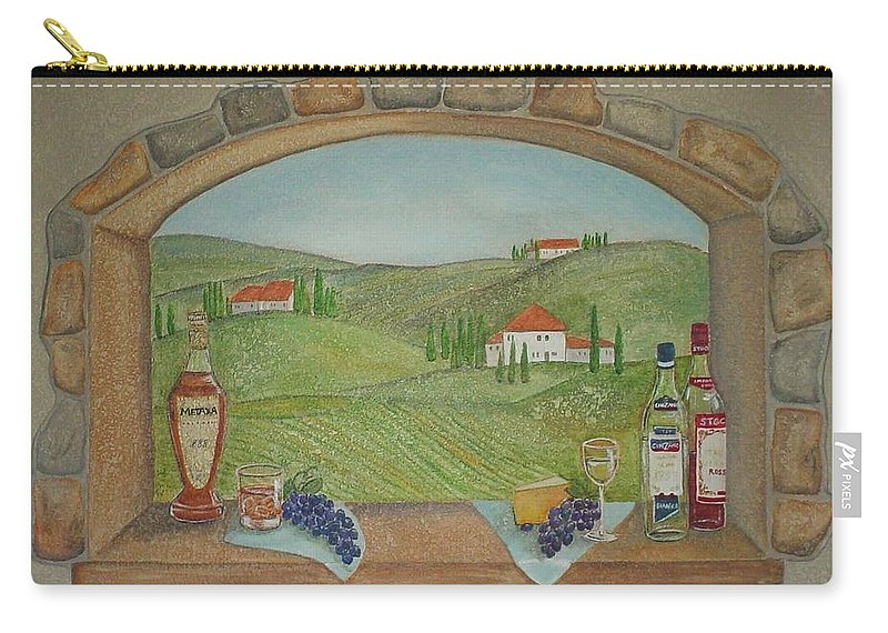 Mural Carry-all Pouch featuring the painting Tuscan Window View by Anita Burgermeister