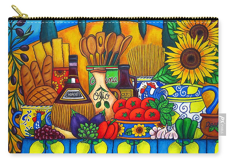 Still Life Carry-all Pouch featuring the painting Tuscany Delights by Lisa Lorenz
