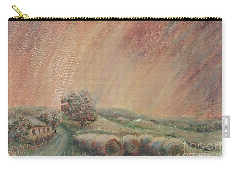 Landscape Carry-all Pouch featuring the painting Tuscany Hayfields by Nadine Rippelmeyer