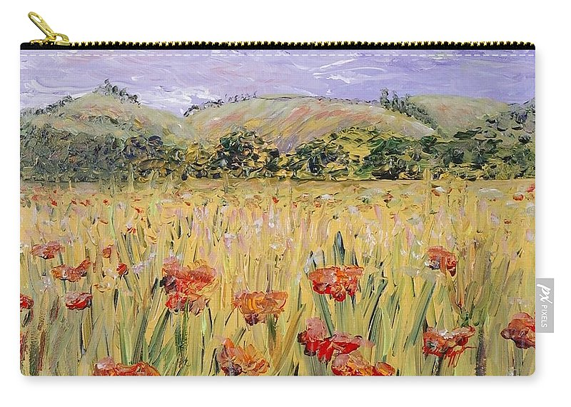 Poppies Carry-all Pouch featuring the painting Tuscany Poppies by Nadine Rippelmeyer