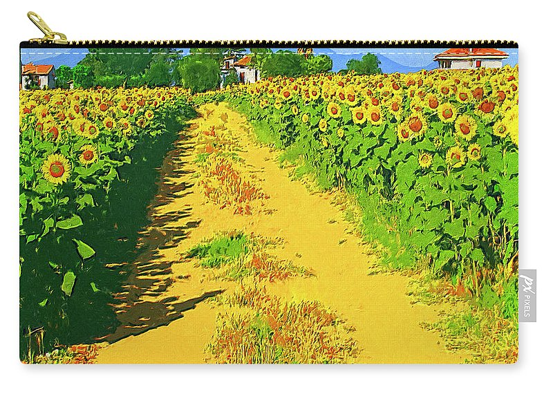 Tuscany Carry-all Pouch featuring the painting Tuscany Sunflowers by Dominic Piperata