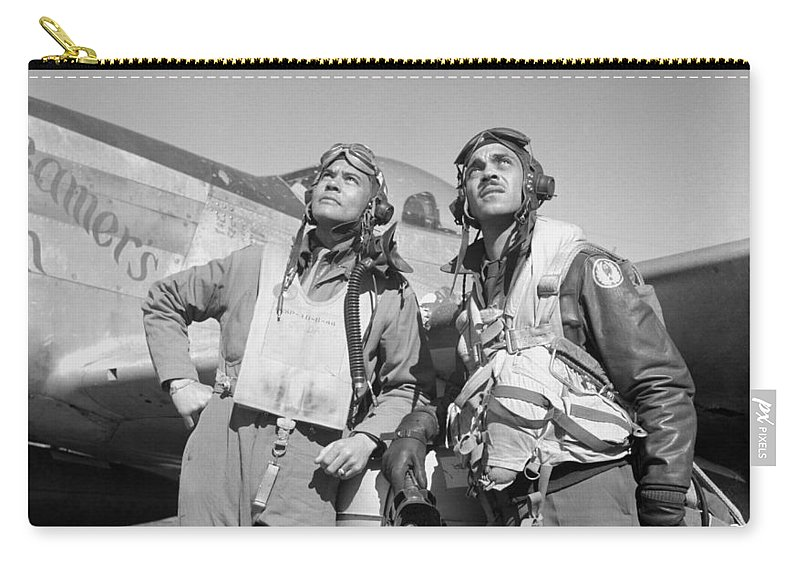 Benjamin Davis Carry-all Pouch featuring the photograph Tuskegee Airmen by War Is Hell Store