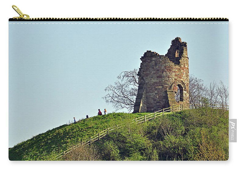Green Carry-all Pouch featuring the photograph Tutbury Castle Ruins by Rod Johnson