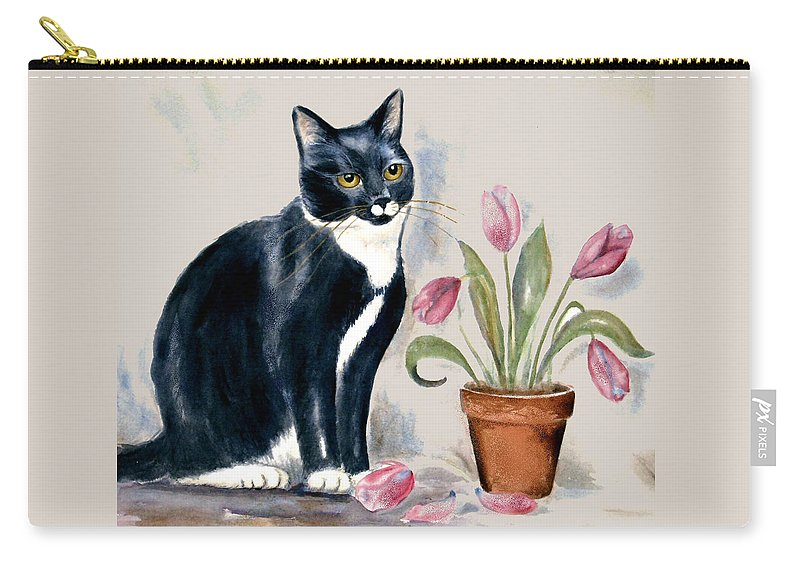 Cat Carry-all Pouch featuring the painting Tuxedo Cat Sitting By The Pink Tulips by Frances Gillotti