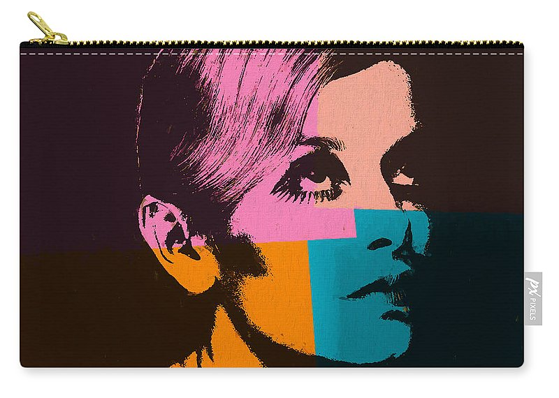 Twiggy Pop Art 2 Carry-all Pouch featuring the mixed media Twiggy Pop Art 2 by Dan Sproul