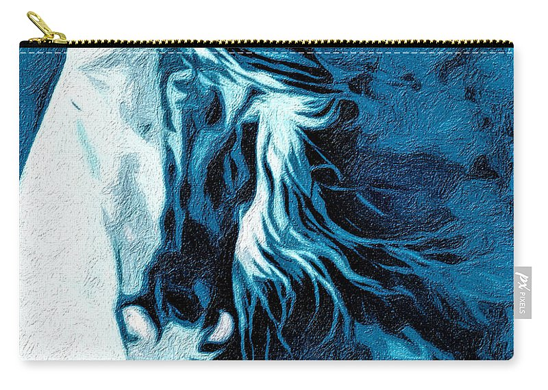 Horse Carry-all Pouch featuring the digital art Twilight At Alcalde by Terry Fiala