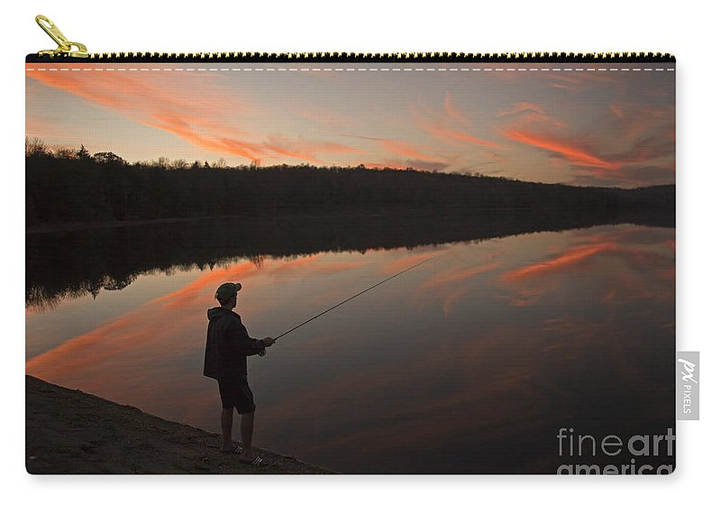 Twilight Carry-all Pouch featuring the photograph Twilight Fishing Delight by John Stephens