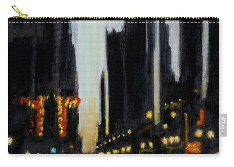 Rob Reeves Carry-all Pouch featuring the painting Twilight In Chicago by Robert Reeves