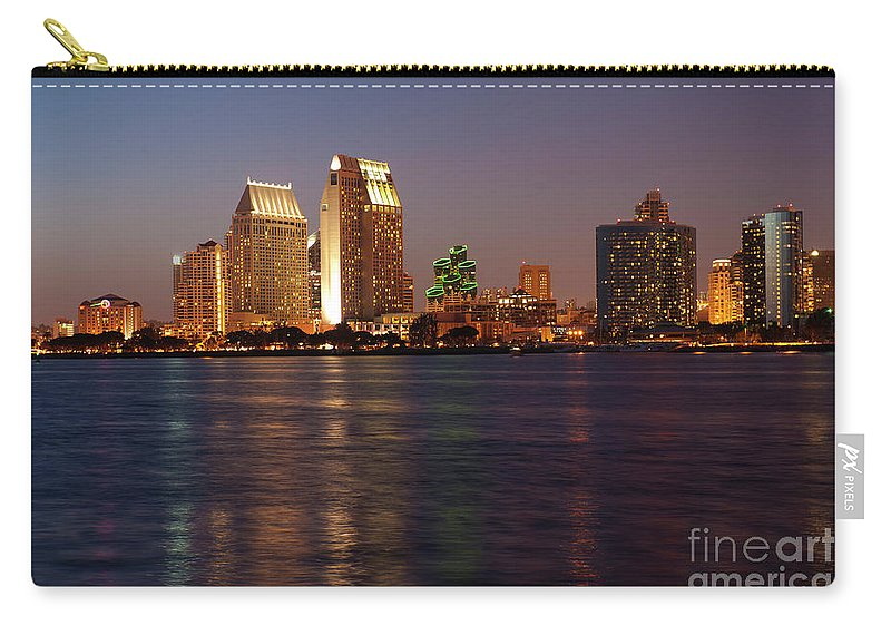 San Diego Skyline Carry-all Pouch featuring the photograph Twilight On San Diego Harbor by Sandra Bronstein