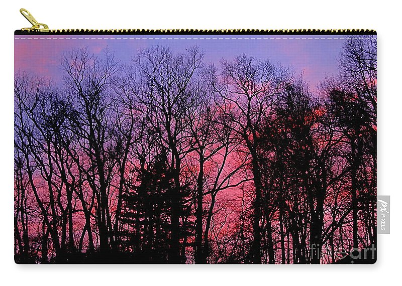 Twilight Trees Forest Sunsets Silhouette Nature Prints Natural Landscapes Skyscapes Colorful Skies Pink And Purple Clouds Carry-all Pouch featuring the photograph Twilight Trees by Joshua Bales