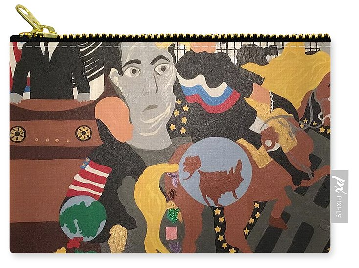 Trump. Putin. Twilight Zone Carry-all Pouch featuring the painting Twilight Zone 2017 by Erika Chamberlin