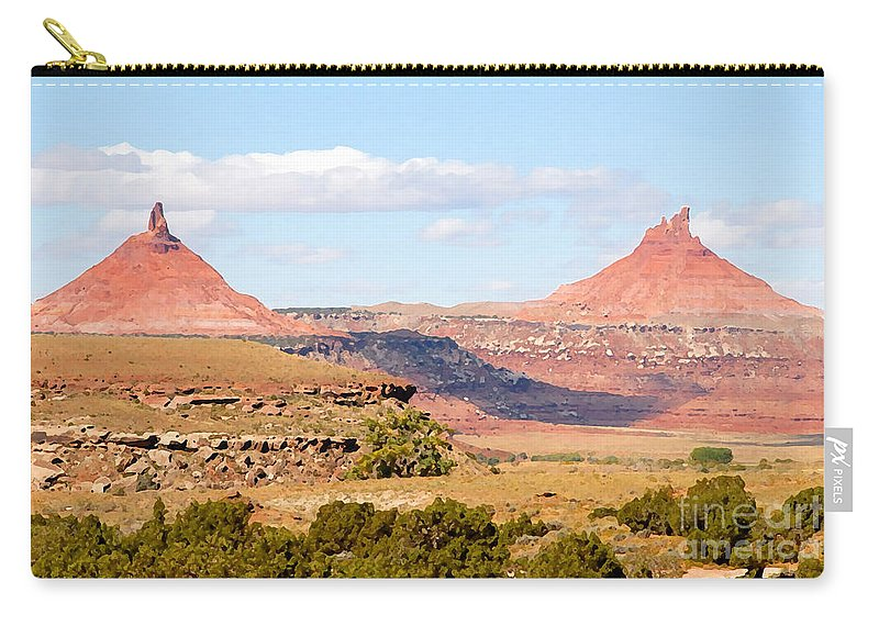 Twin Buttes Carry-all Pouch featuring the photograph Twin Buttes by David Lee Thompson