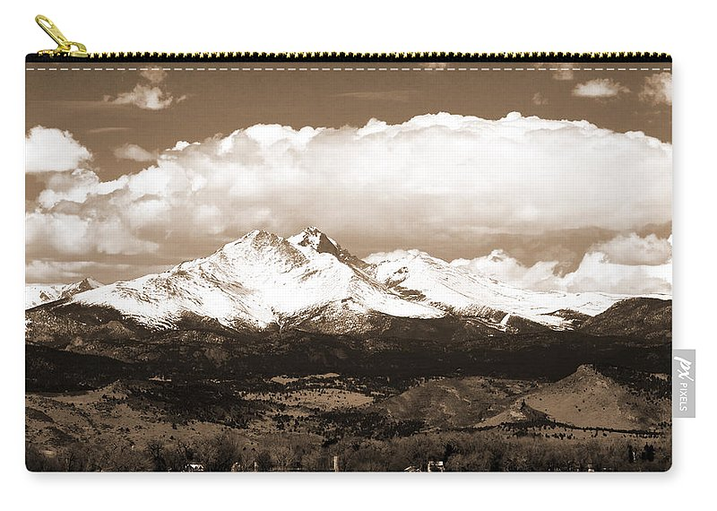 Twin Peeks Carry-all Pouch featuring the photograph Twin Peaks In Sepia by James BO Insogna