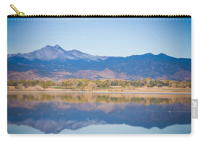 Rocky Mountains Carry-all Pouch featuring the photograph Twin Peaks Reflection by James BO Insogna