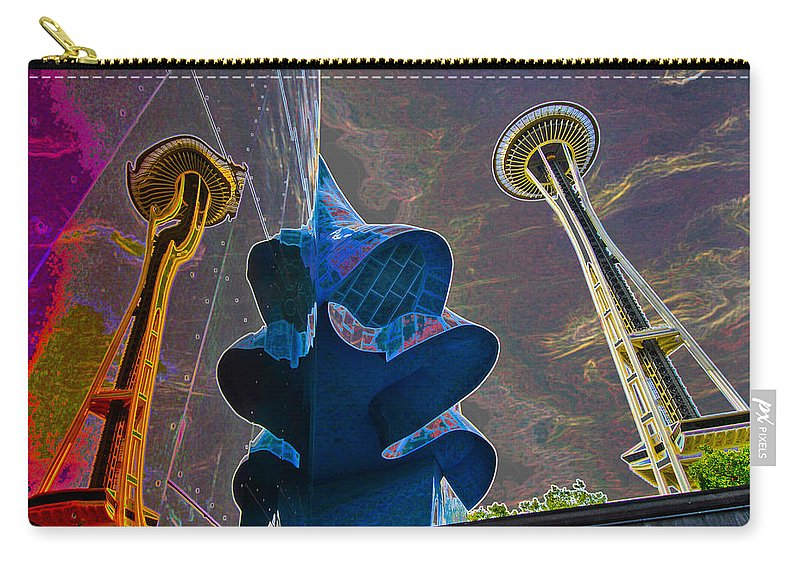 Twin Carry-all Pouch featuring the photograph Twin Space Needles by Robert Ponzoni