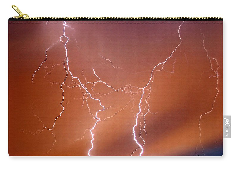 Lightning Carry-all Pouch featuring the photograph Twin Strike by Anthony Jones